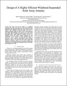 Design of a highly efficient wideband suspended solar array