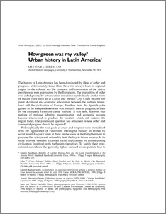 How green was my valley? Urban history in Latin America