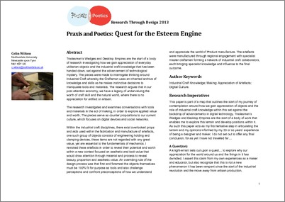praxis and poetics quest for the esteem engine northumbria