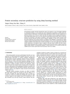 Protein secondary structure prediction by using deep